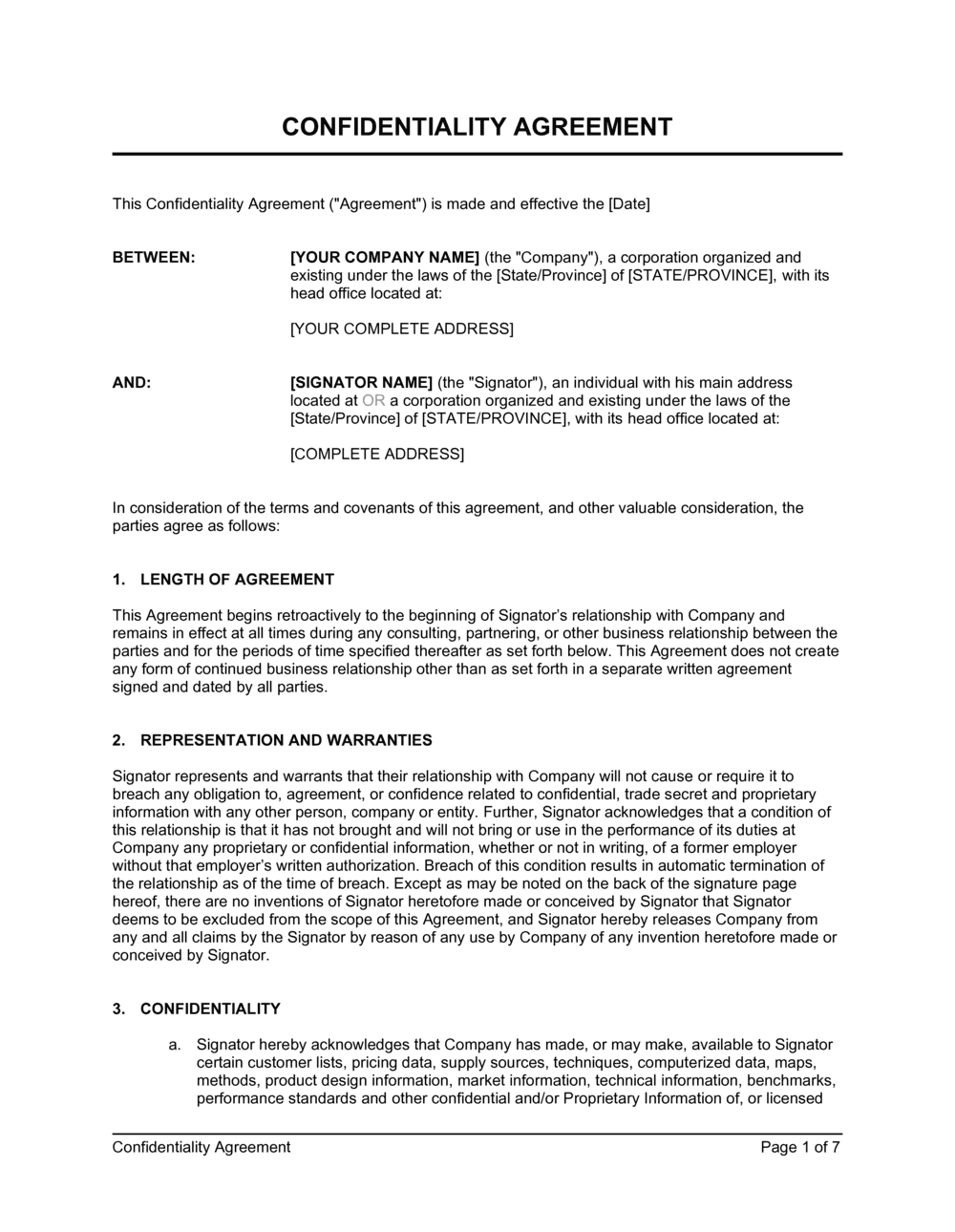 Business-in-a-Box's Confidentiality Agreement for Consultants, Contractors Template
