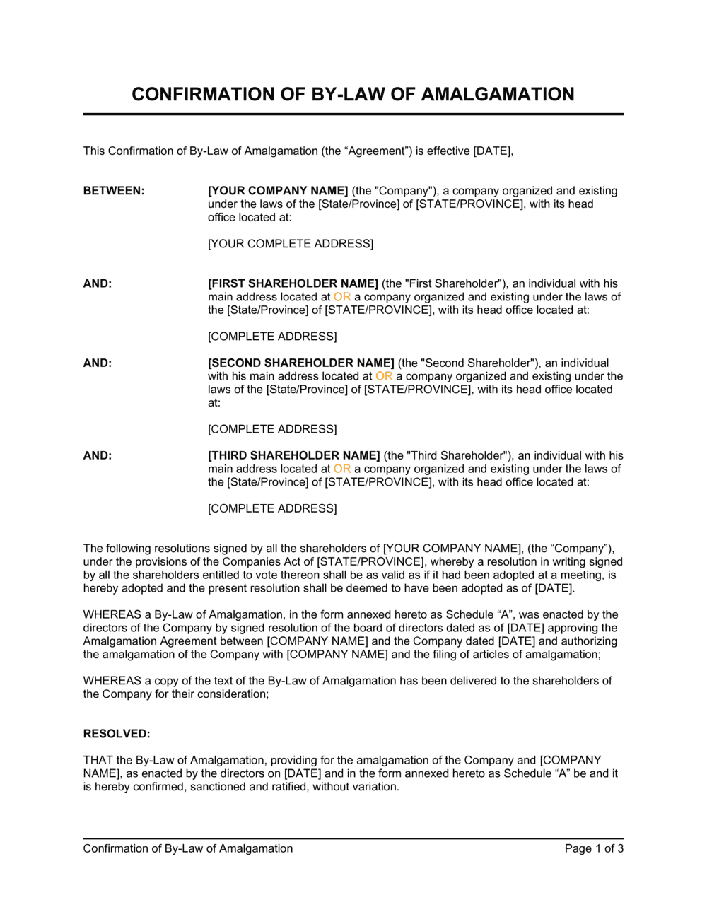 Business-in-a-Box's Confirmation of By-Law of Amalgamation Template