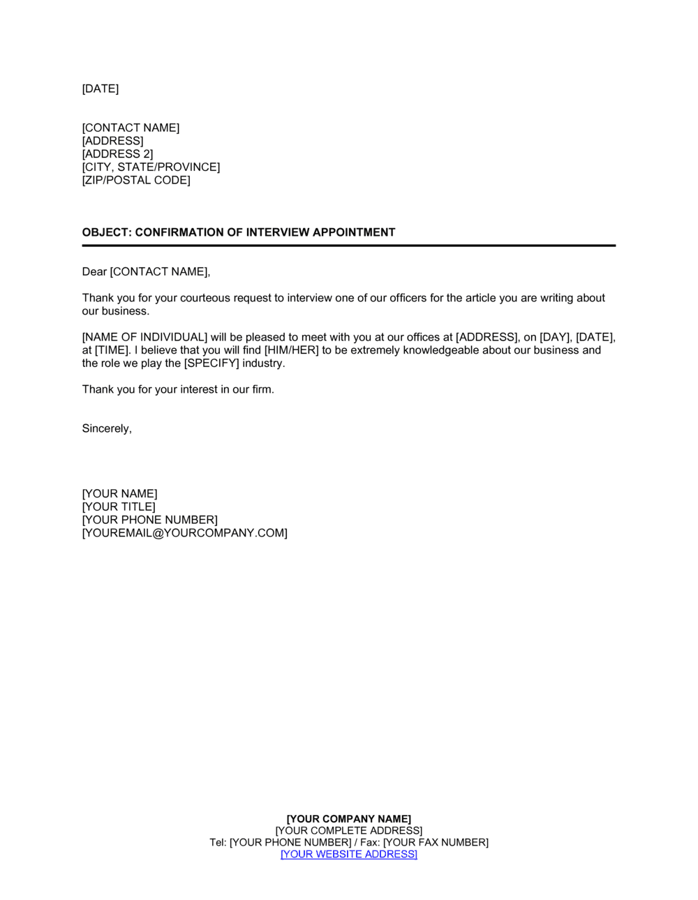 Business-in-a-Box's Confirmation of Interview Appointment Template