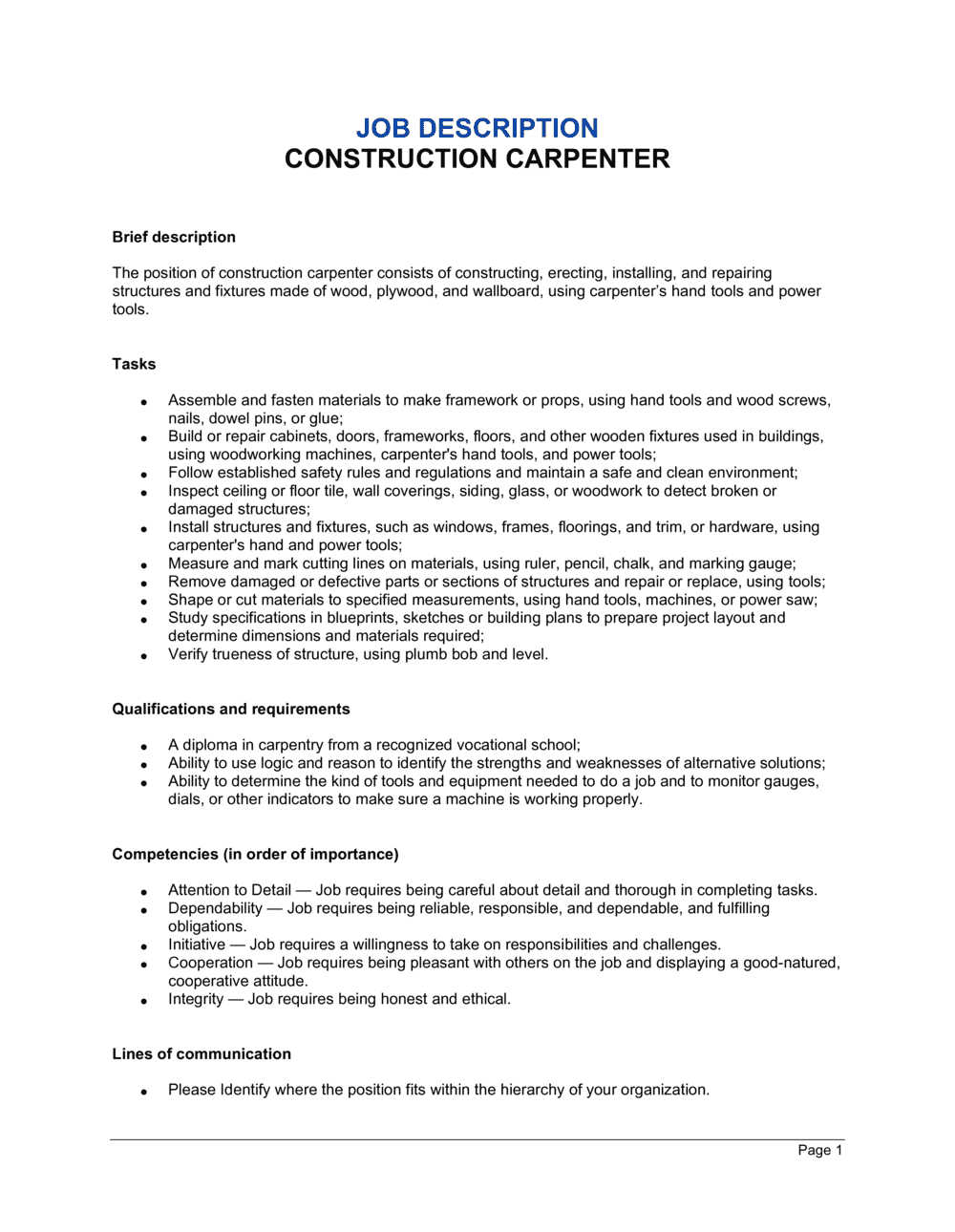 Business-in-a-Box's Construction Carpenter Job Description Template