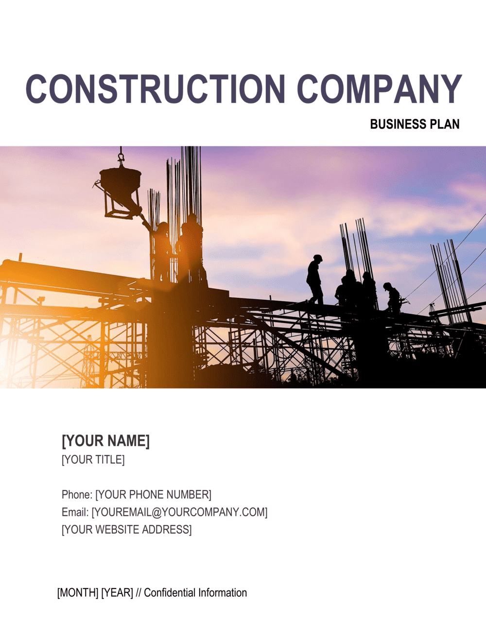 Business-in-a-Box's Construction Company Business Plan 3 Template