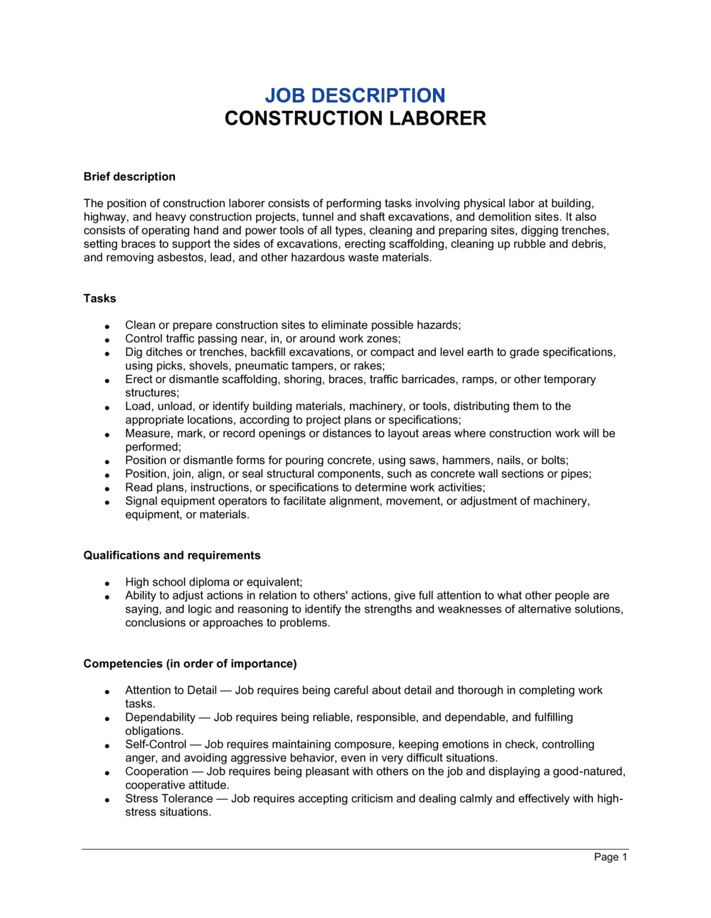 Business-in-a-Box's Construction Laborer Job Description Template
