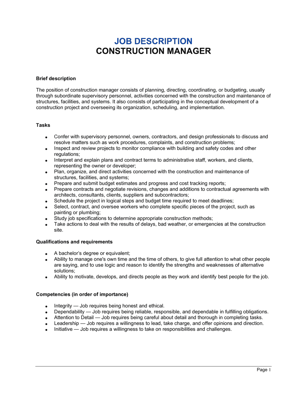 Business-in-a-Box's Construction Manager Job Description Template