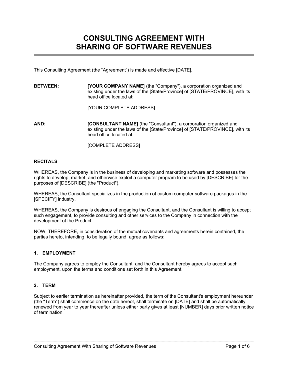 Business-in-a-Box's Consulting Agreement with Sharing of Software Revenues Template