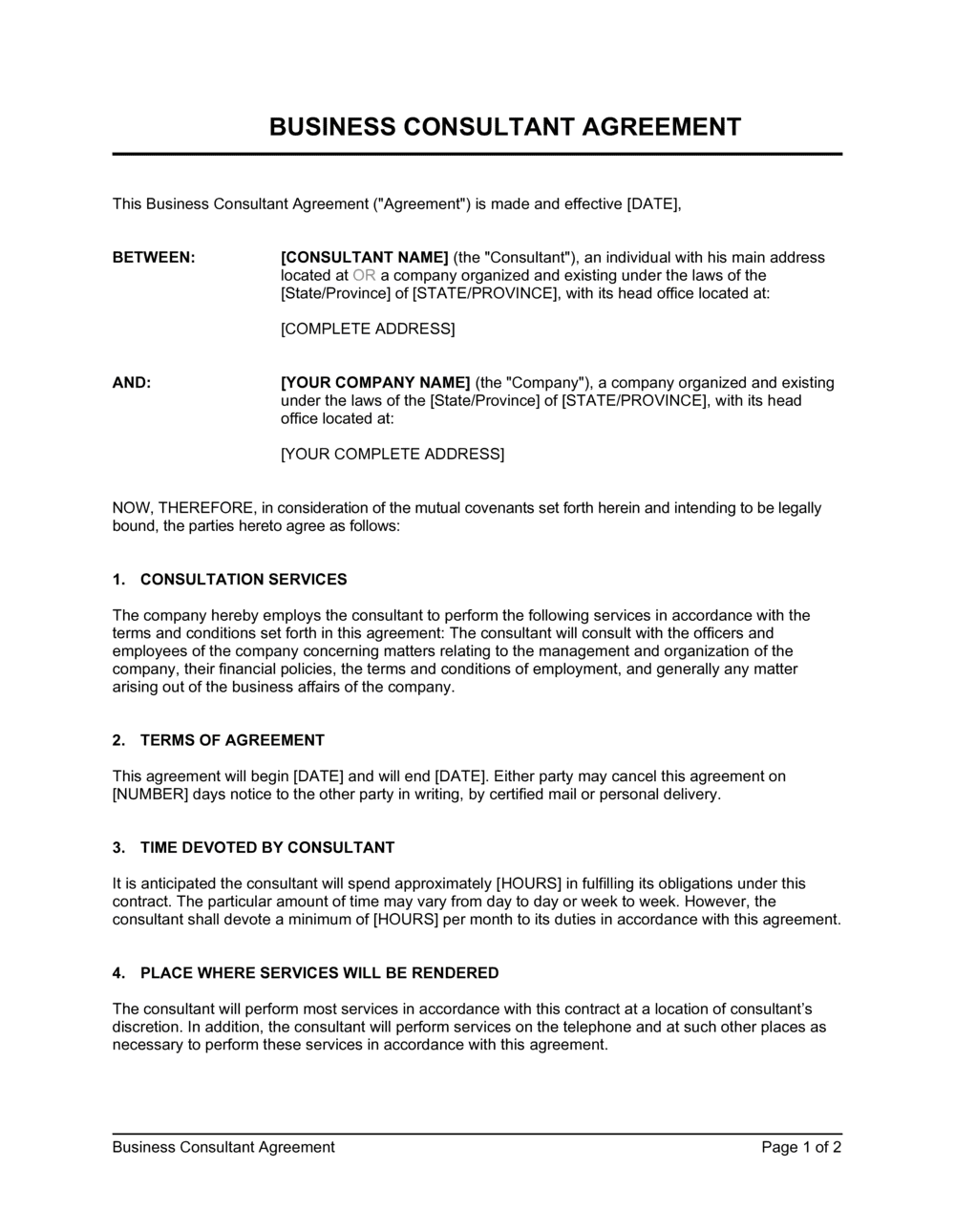 Business-in-a-Box's Consulting Contract Template