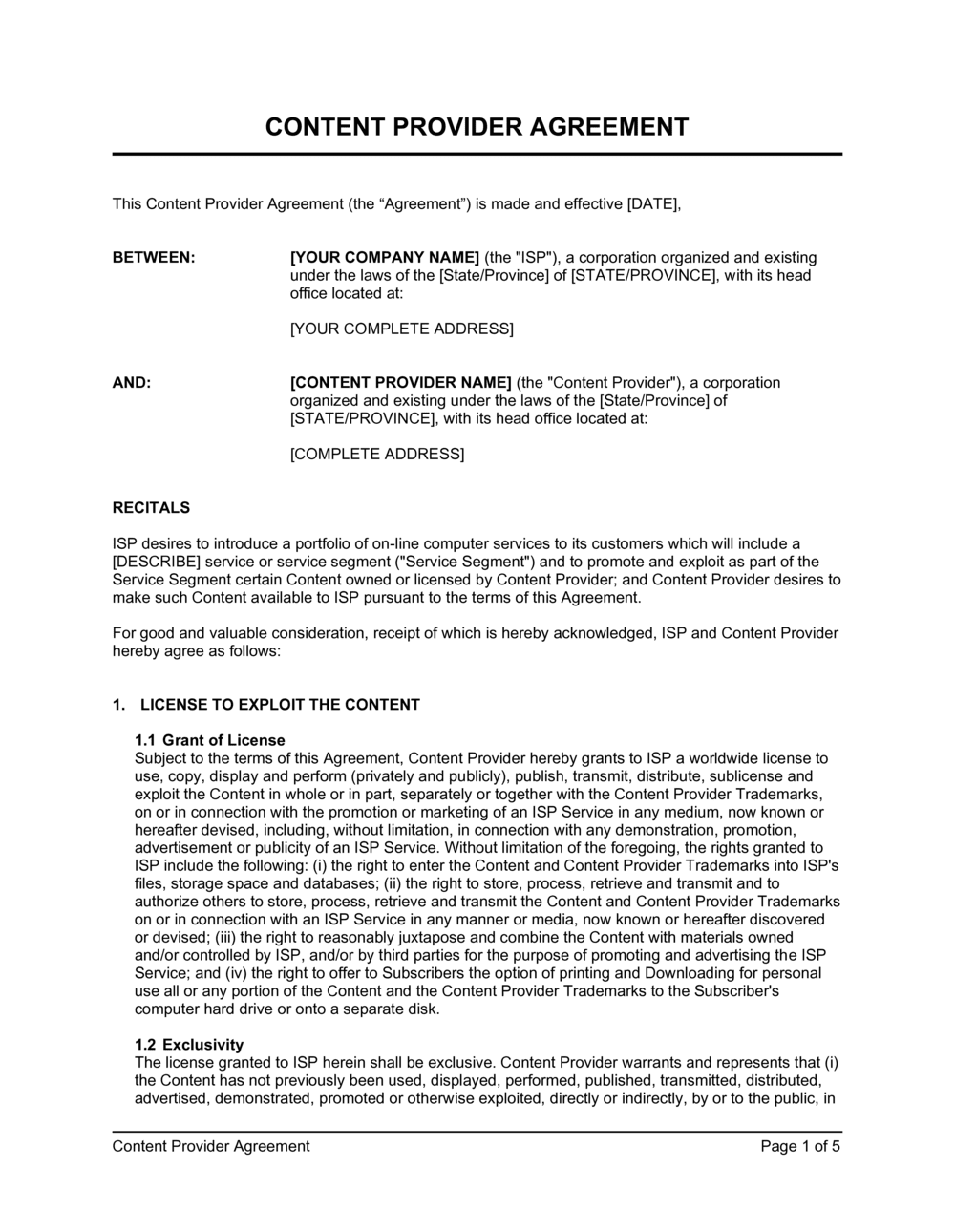 Business-in-a-Box's Content Provider Agreement Template