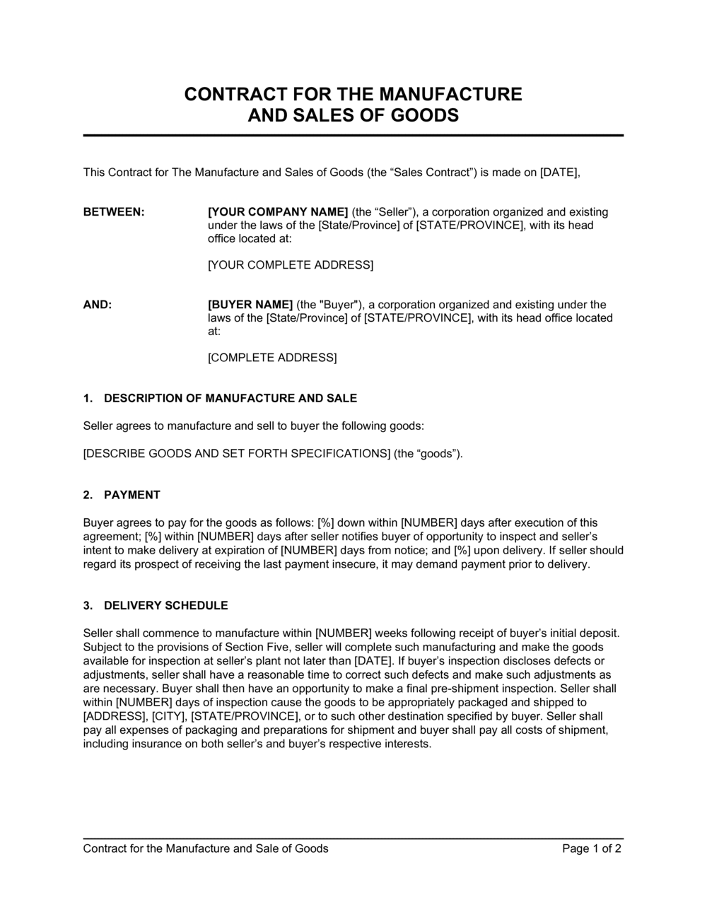 Business-in-a-Box's Contract for the Manufacture and Sale of Goods Template
