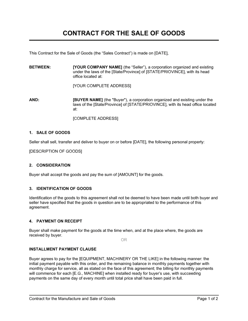 Business-in-a-Box's Contract for the Sale of Goods Template