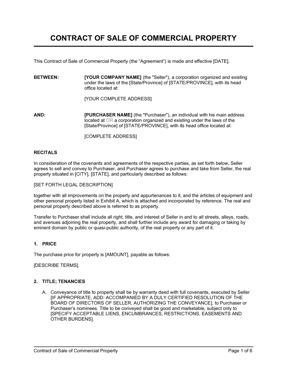 Contract of Sale of Commercial Property Template   by Business in ...
