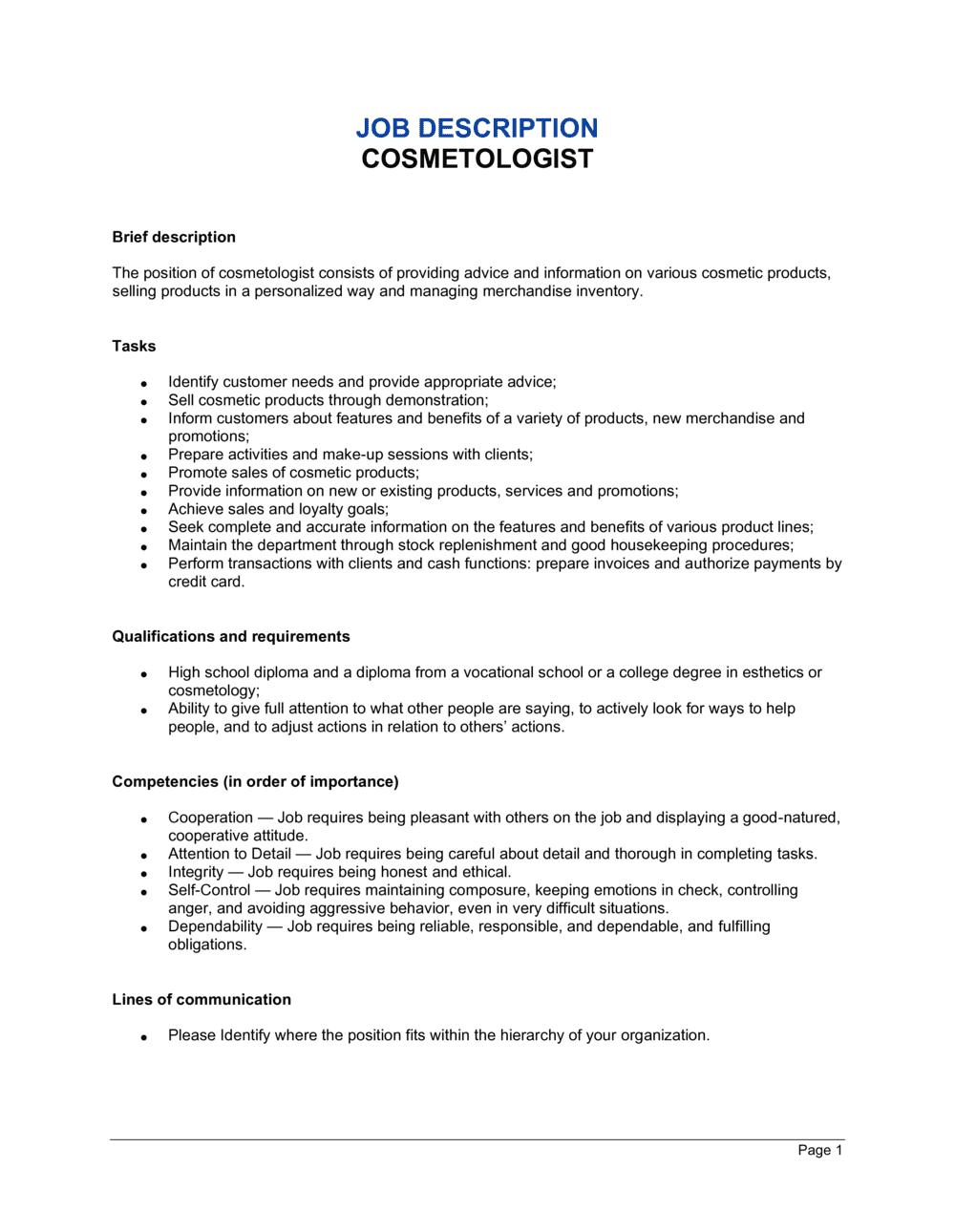 Business-in-a-Box's Cosmetologist Job Description Template