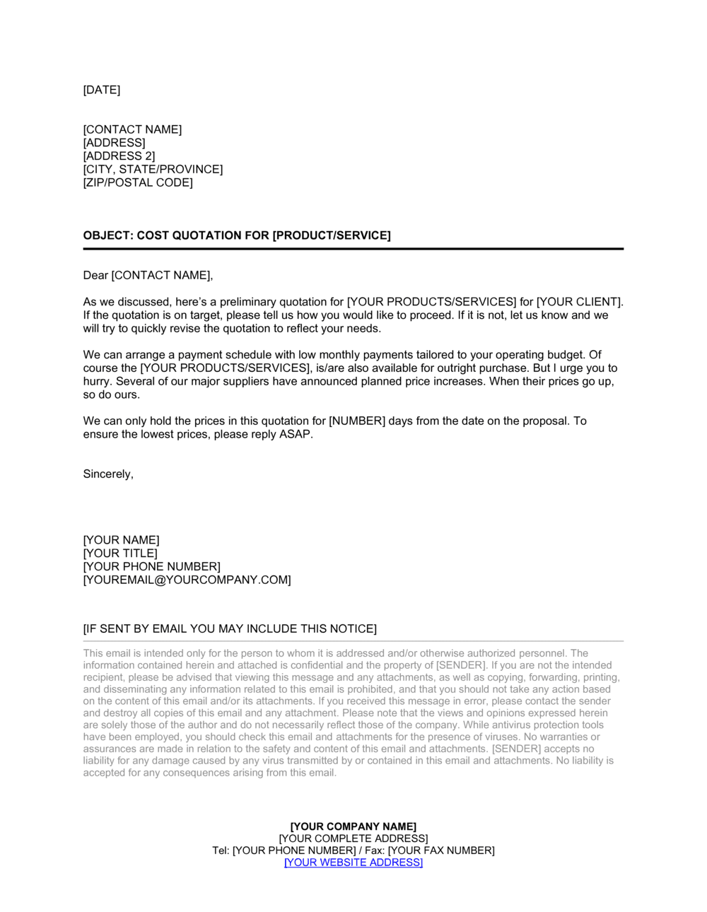 Business-in-a-Box's Cover Letter for a Cost Quotation Template