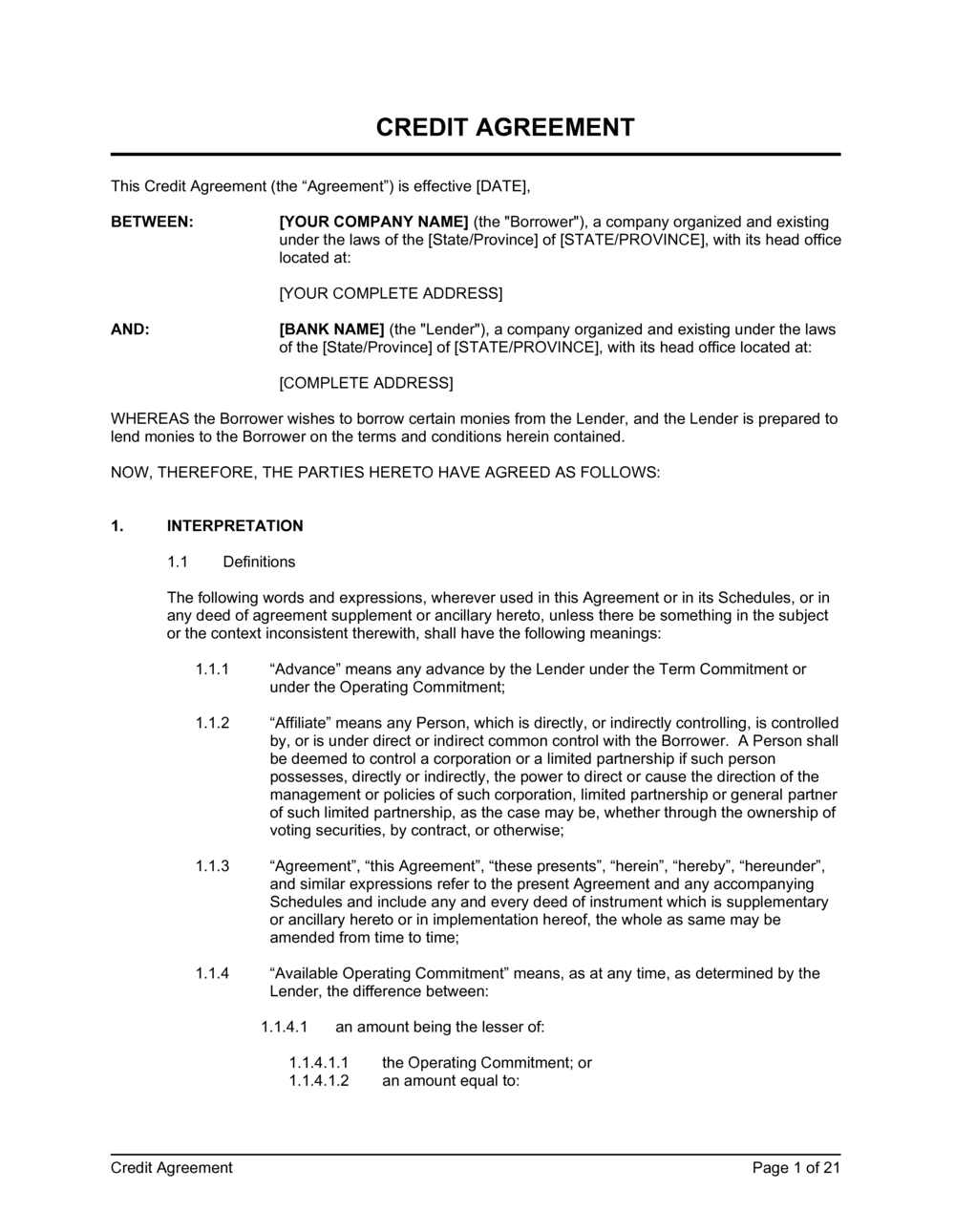 Business-in-a-Box's Credit Agreement Template