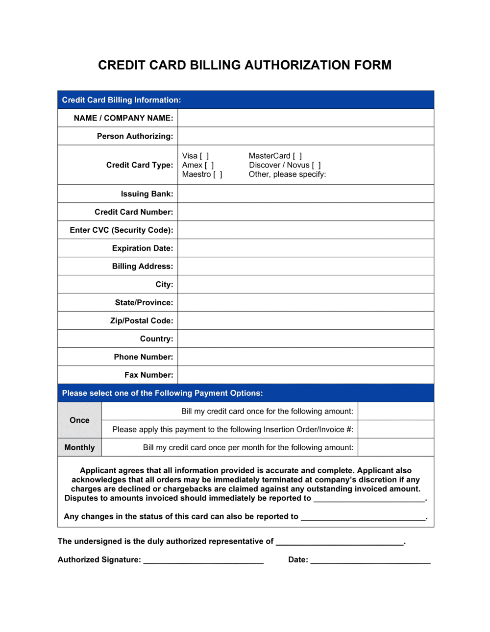 Business-in-a-Box's Credit Card Billing Authorization Form Template
