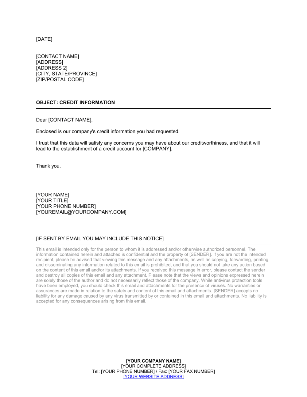 Business-in-a-Box's Credit Information Cover Letter Template
