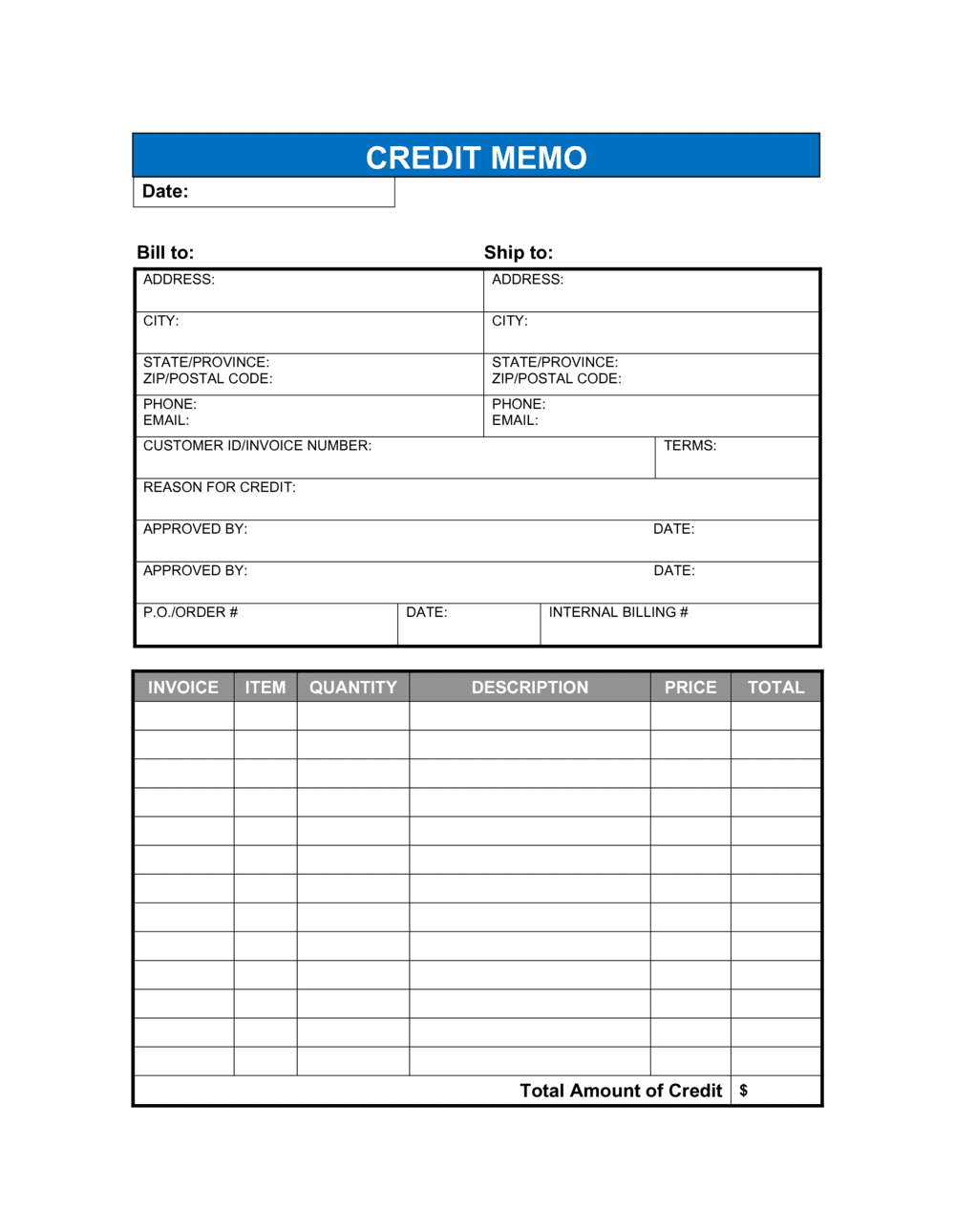 Business-in-a-Box's Credit Memo Template