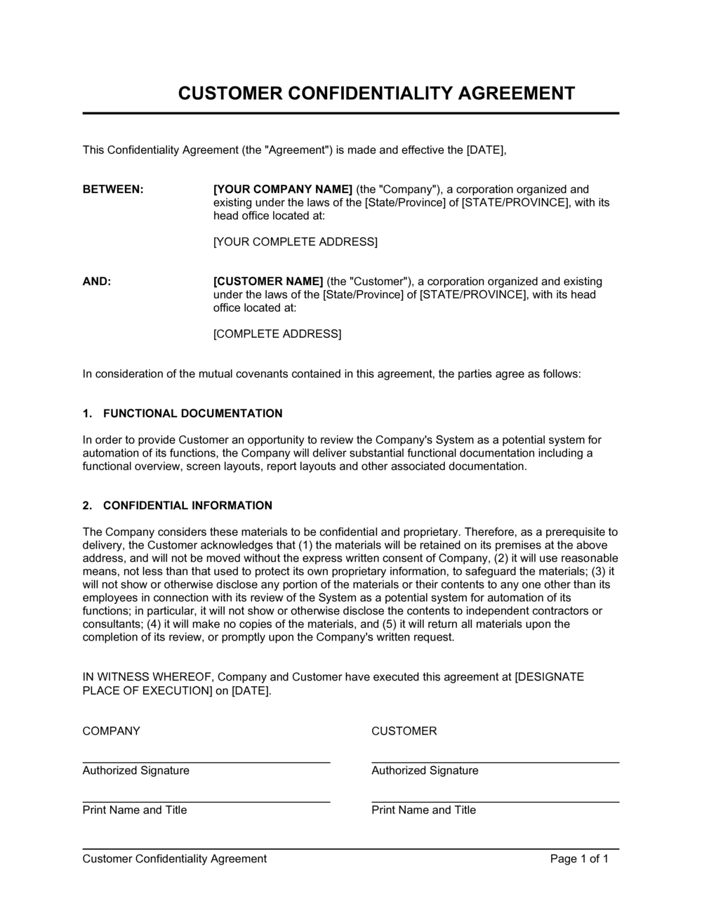Business-in-a-Box's Customer Confidentiality Agreement Template