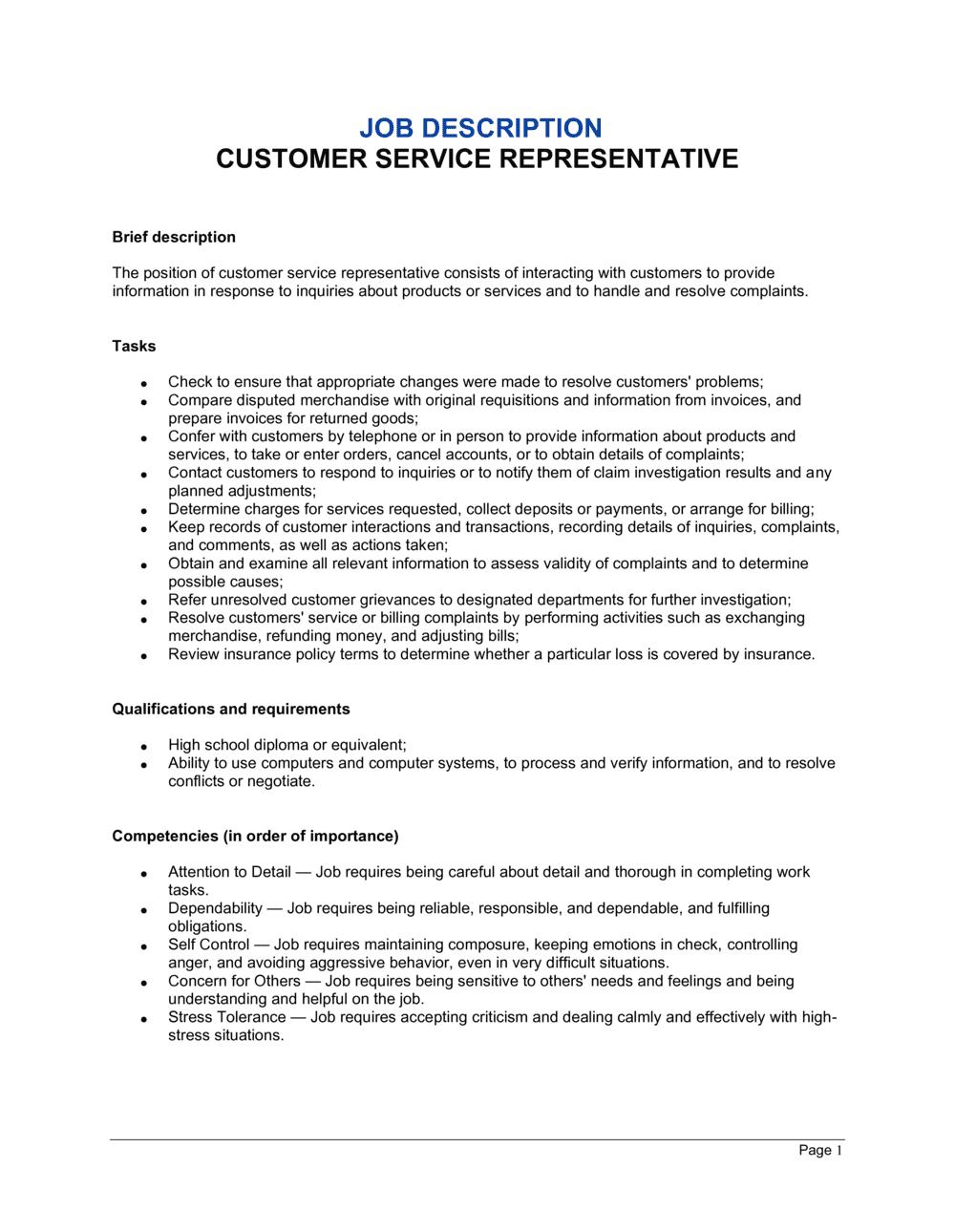 Business-in-a-Box's Customer Service Representative Job Description Template