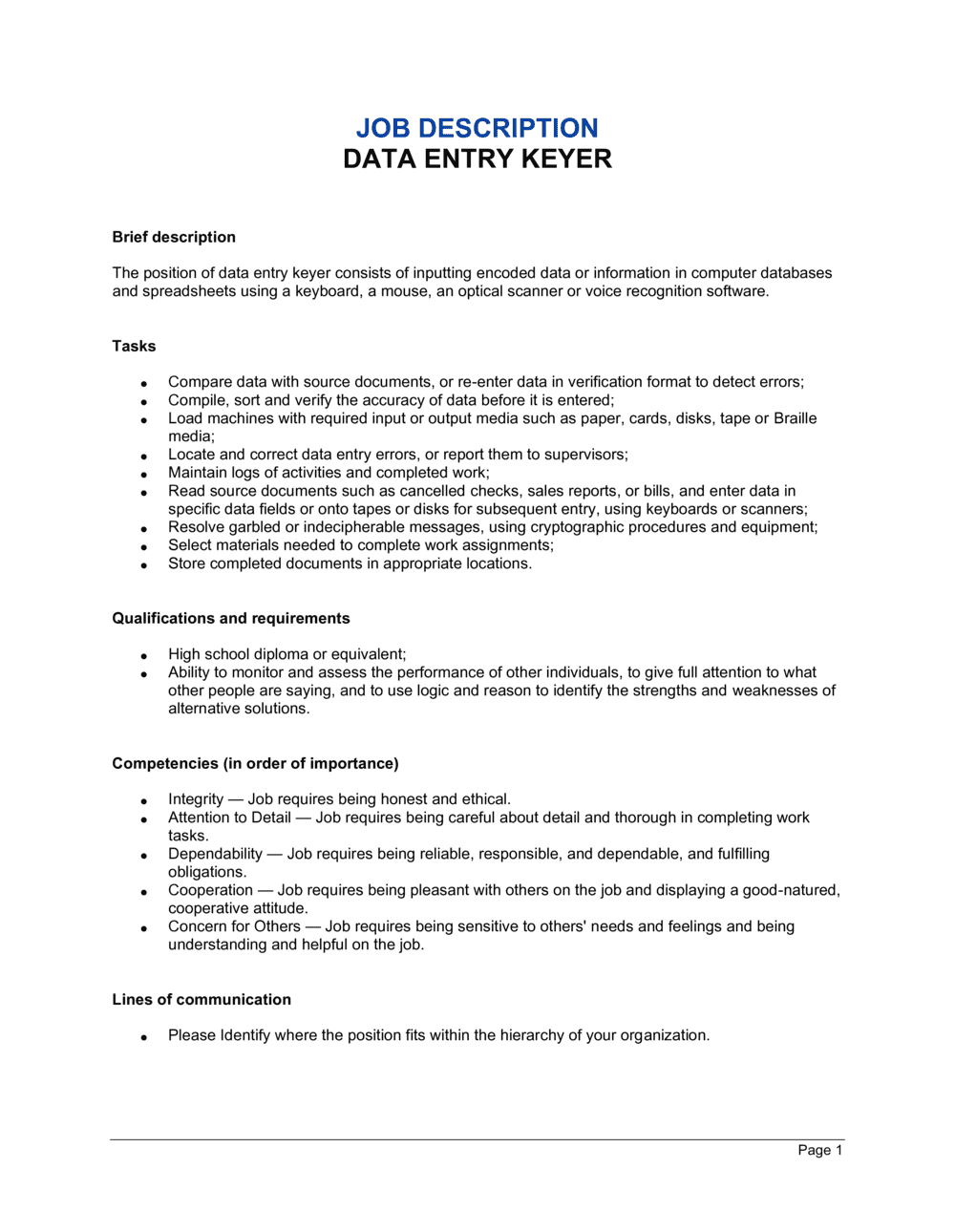 Business-in-a-Box's Data Entry Keyer Job Description Template