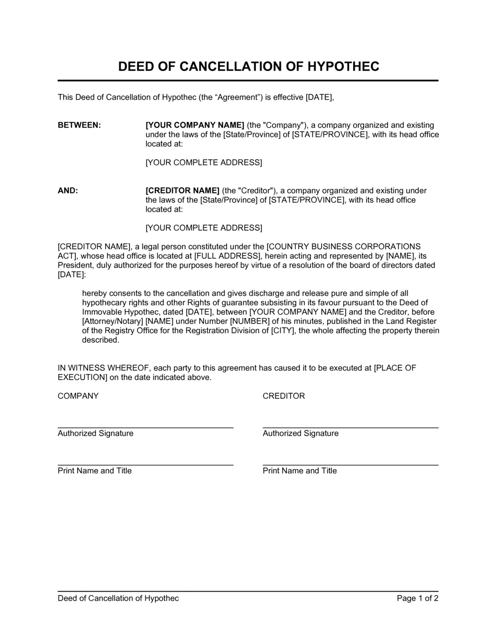 Business-in-a-Box's Deed of Cancellation of Hypothec Template