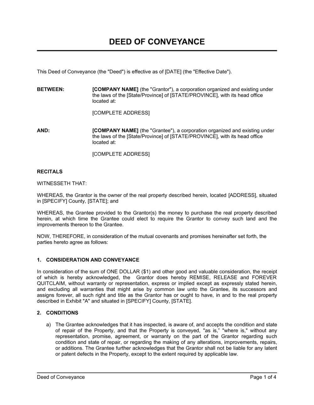 Business-in-a-Box's Deed Of Conveyance Template