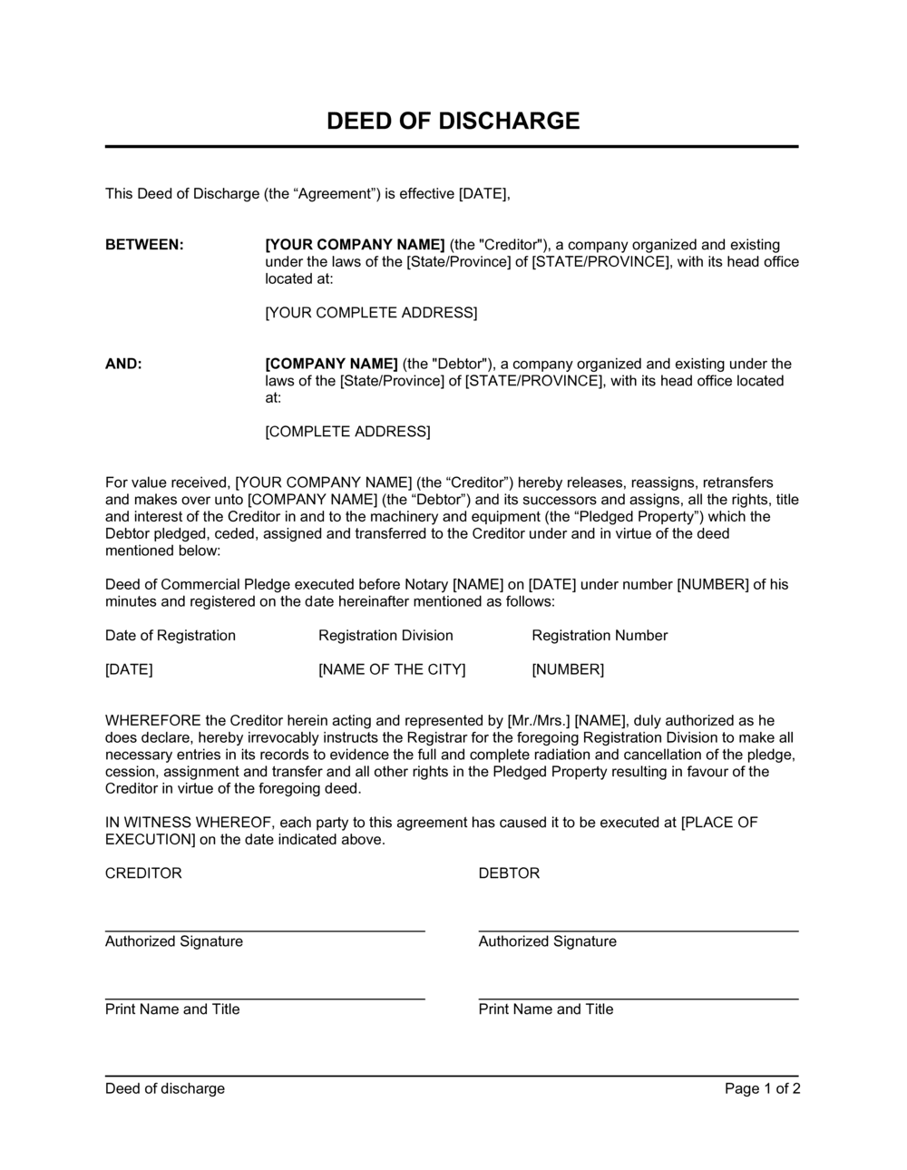 Business-in-a-Box's Deed of Discharge Template