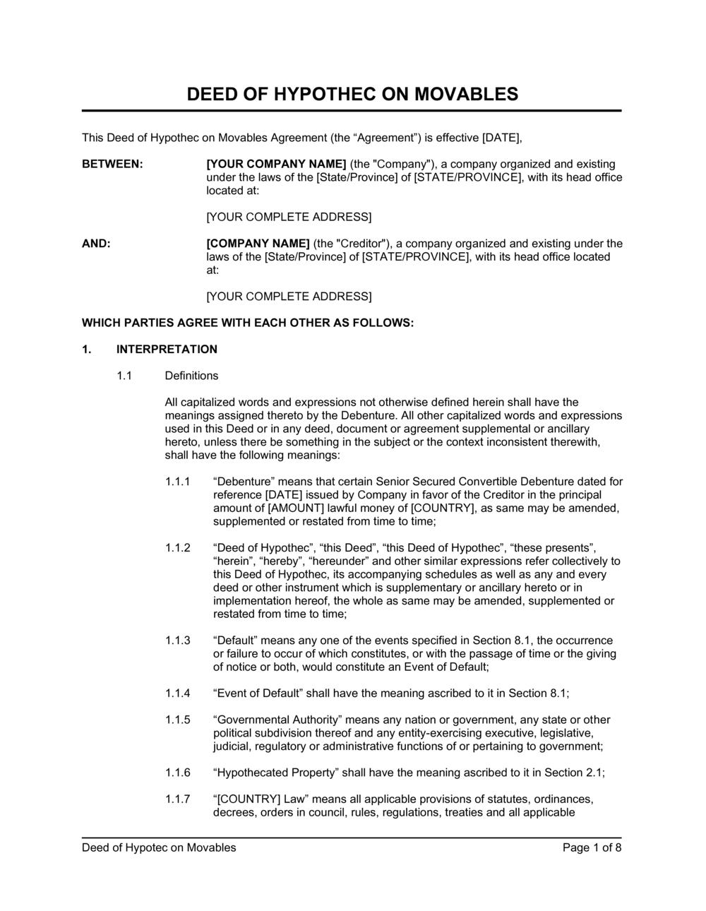 Business-in-a-Box's Deed of Hypothec on Movables Template