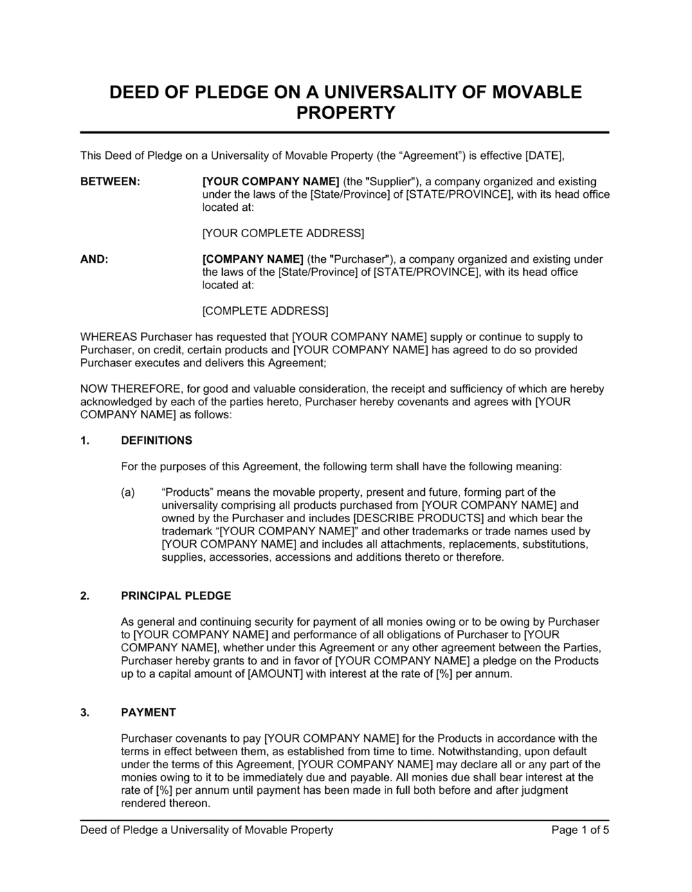 Business-in-a-Box's Deed of Pledge Universality of Movable Property Template
