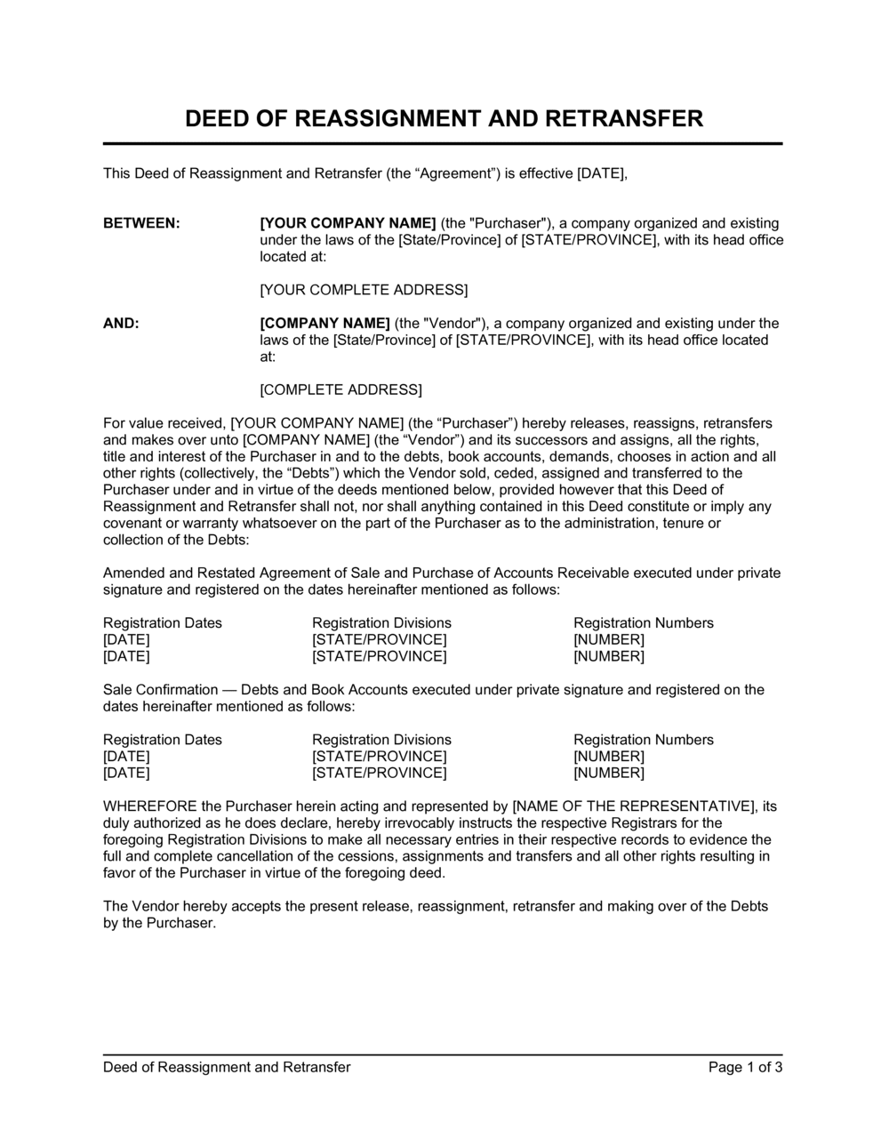 Business-in-a-Box's Deed of Reassignment and Retransfer Template