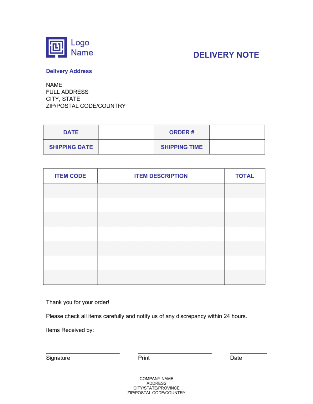 Business-in-a-Box's Delivery Note Template