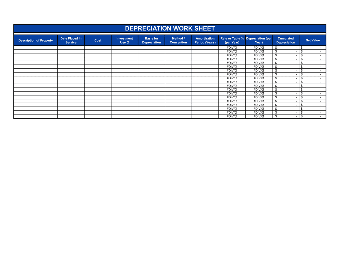 Business-in-a-Box's Depreciation Worksheet Template