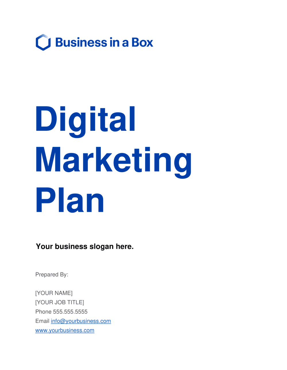 Business-in-a-Box's Digital Marketing Plan Template