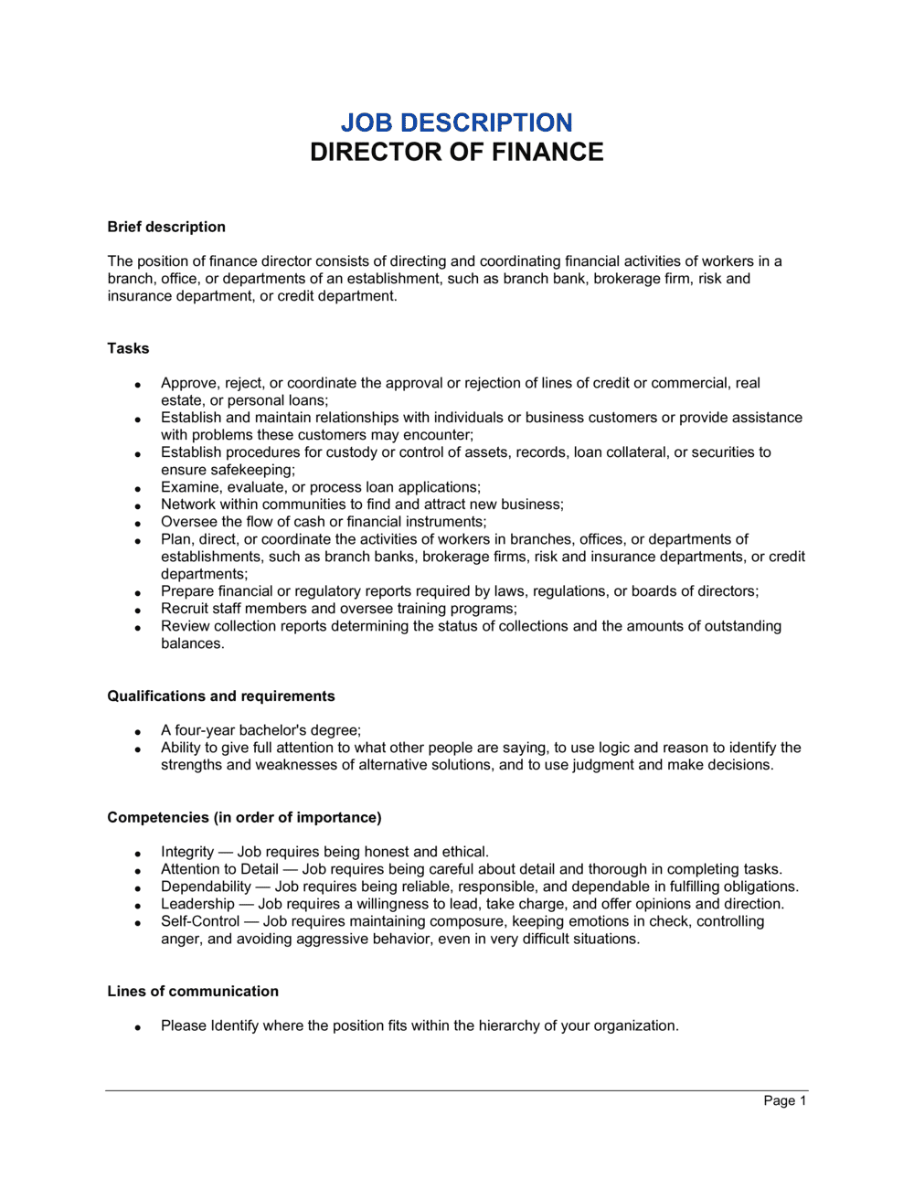 Business-in-a-Box's Director of Finance Job Description Template