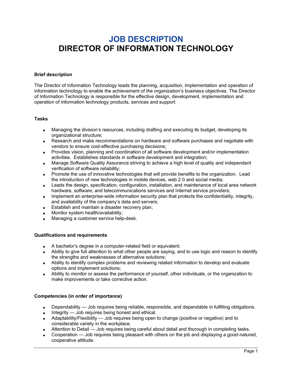 Business-in-a-Box's Director of Information Technology Job Description Template