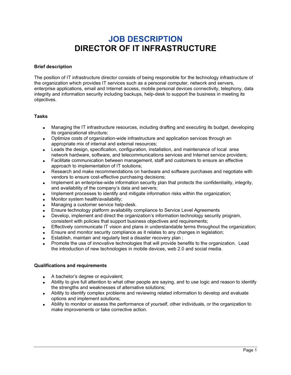 Business-in-a-Box's Director of IT Infrastructure Job Description Template