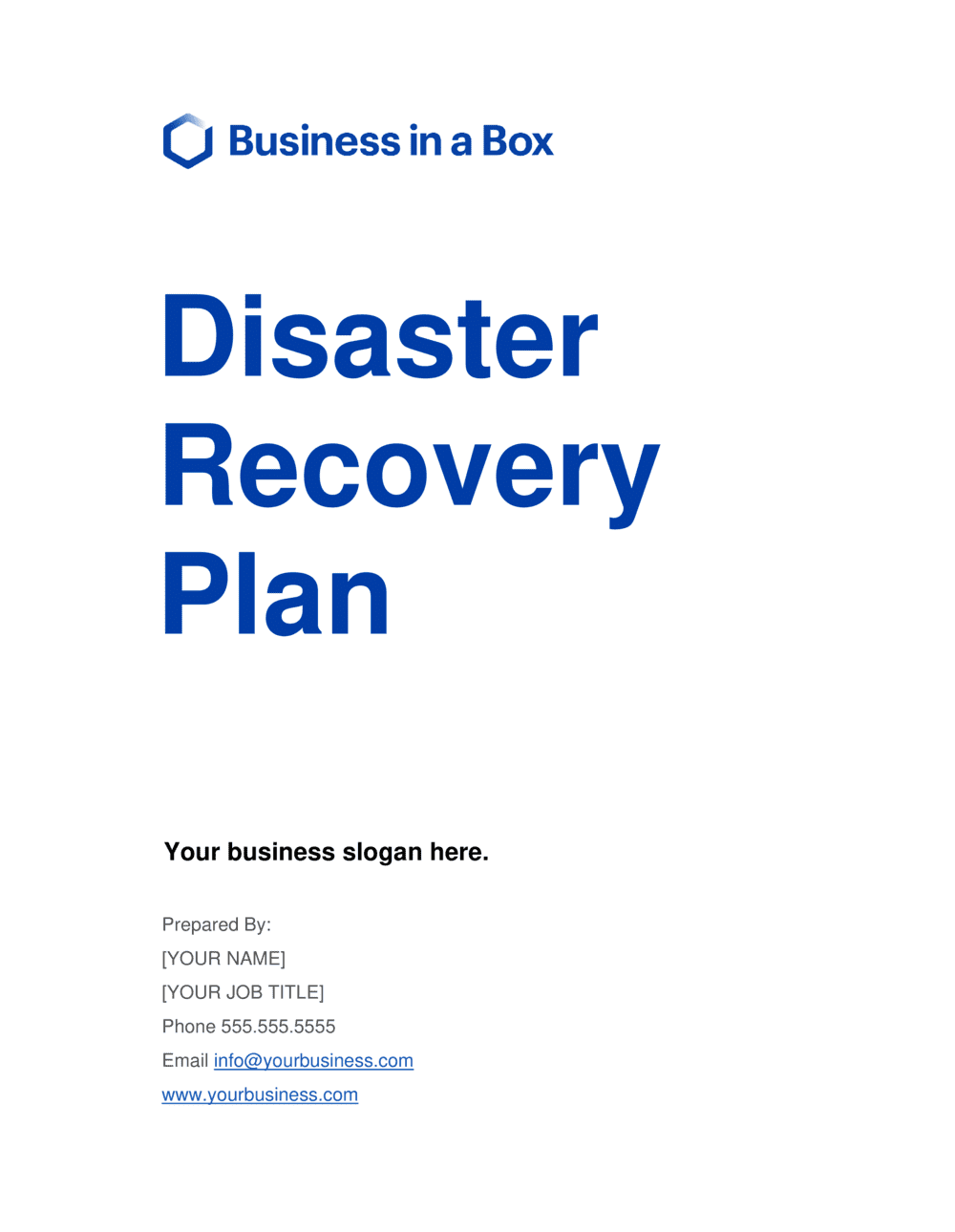 Business-in-a-Box's Disaster Recovery Plan Template