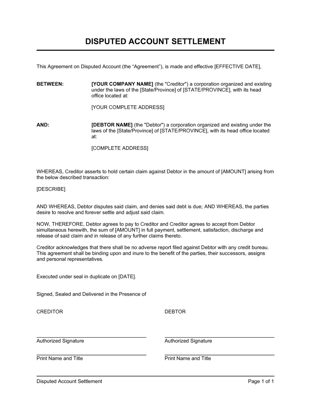 Business-in-a-Box's Disputed Account Settlement Template
