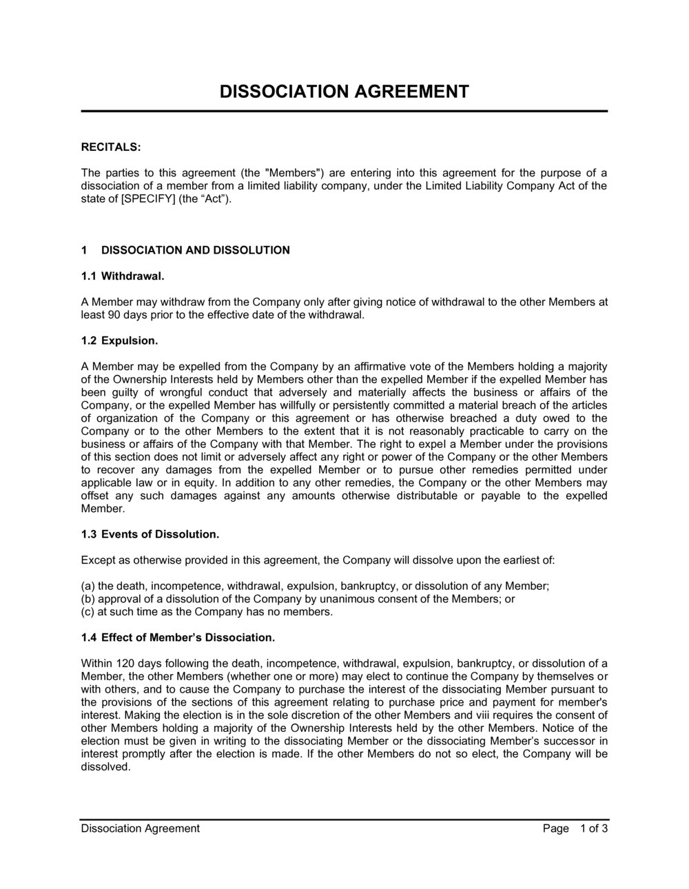 Business-in-a-Box's Dissociation Agreement Template