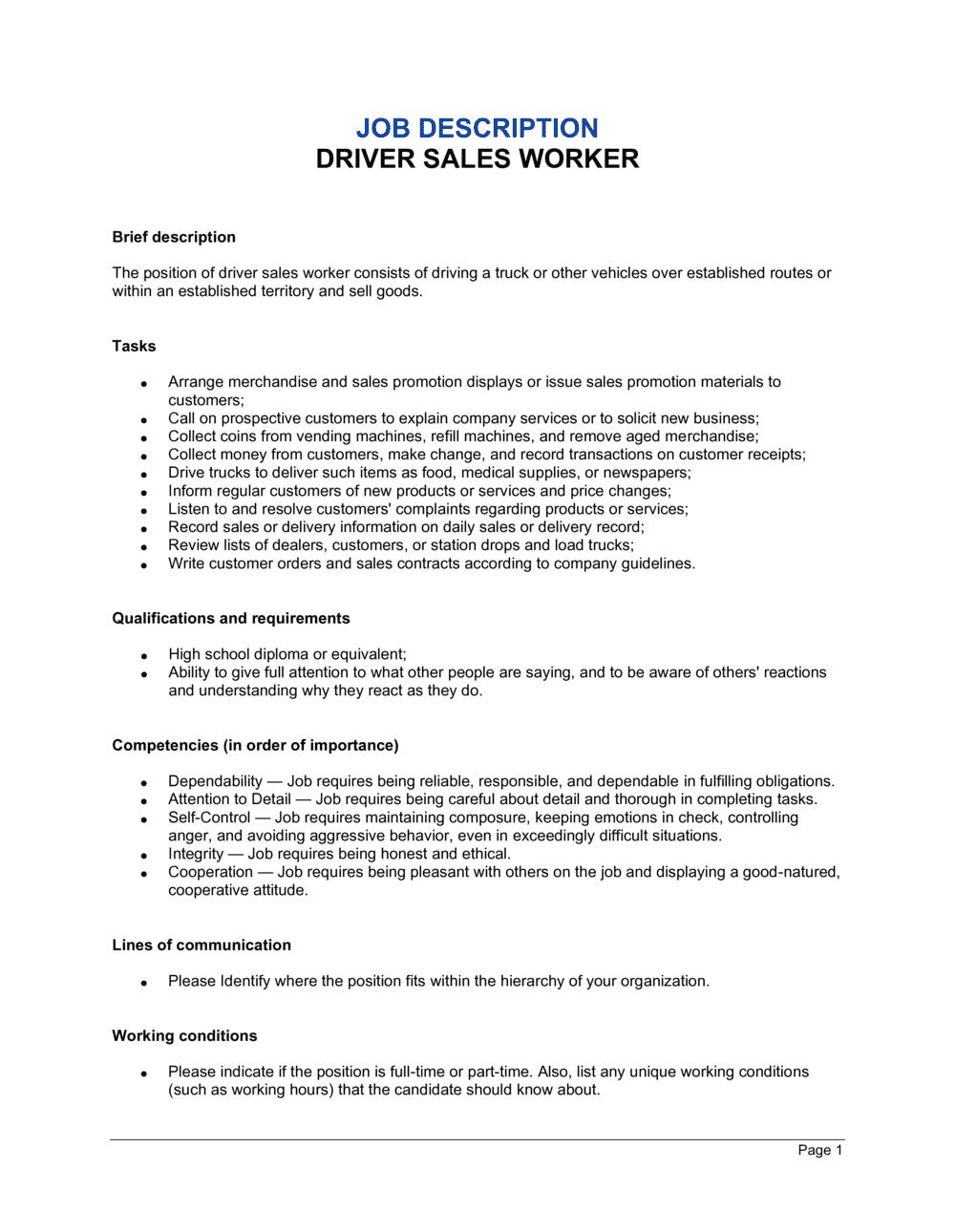 Business-in-a-Box's Driver Sales Worker Job Description Template
