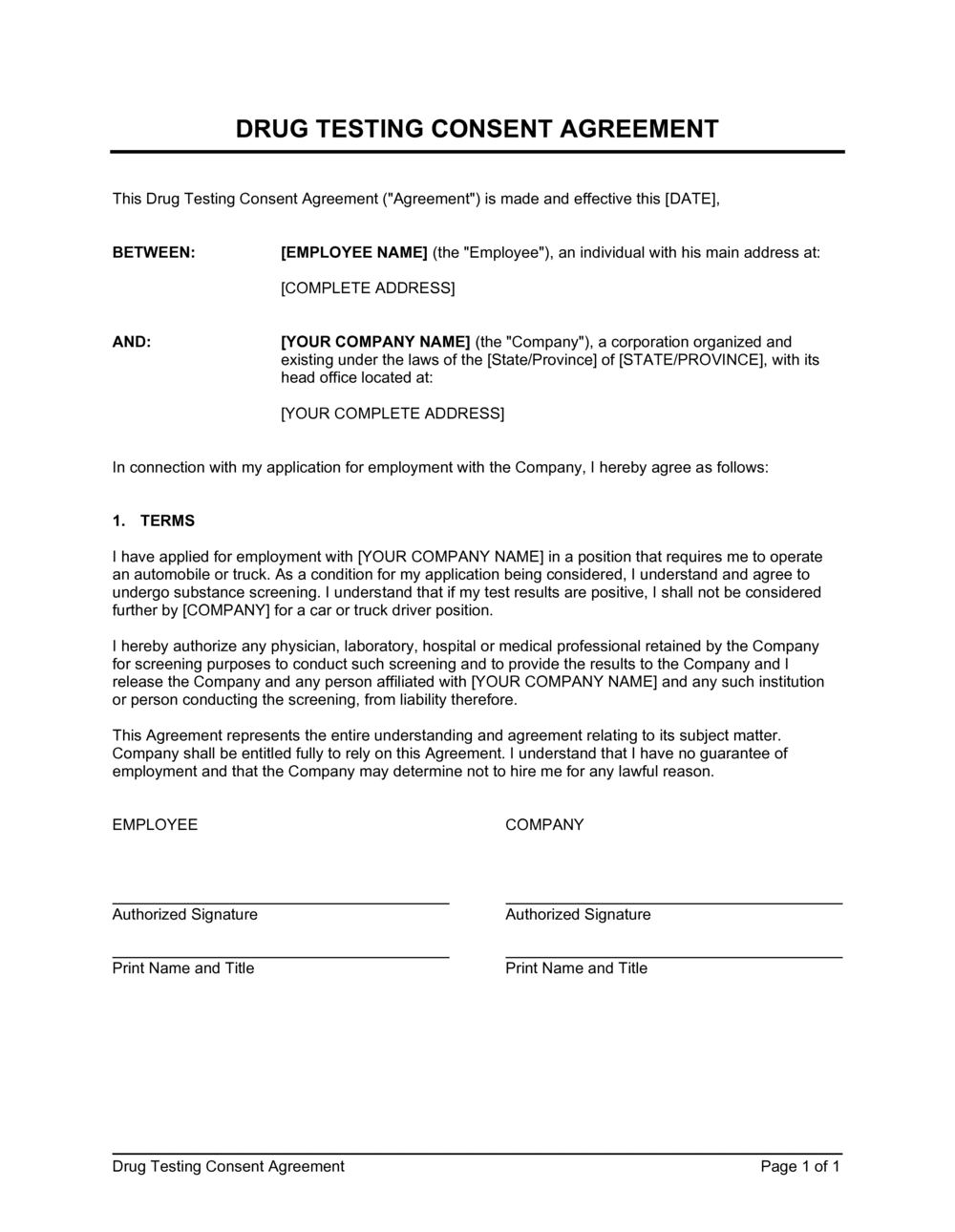 Business-in-a-Box's Drug Testing Consent Agreement Template