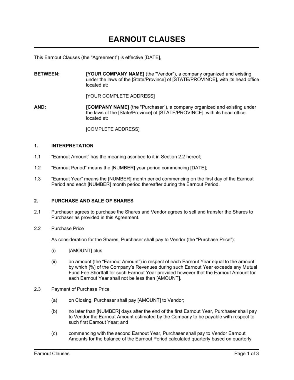 Business-in-a-Box's Earnout Clauses Agreement Template