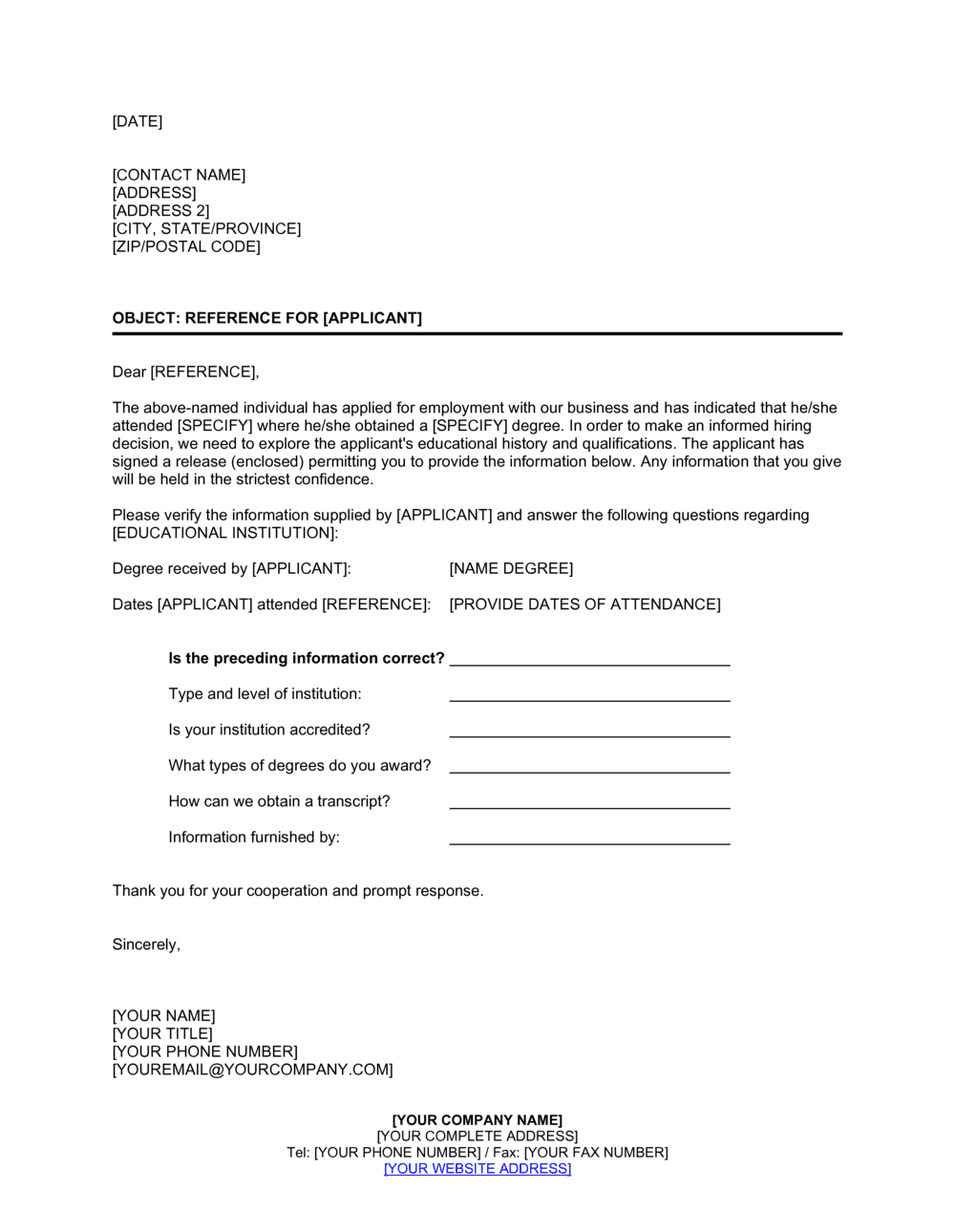 Business-in-a-Box's Educational Reference Check Letter Template