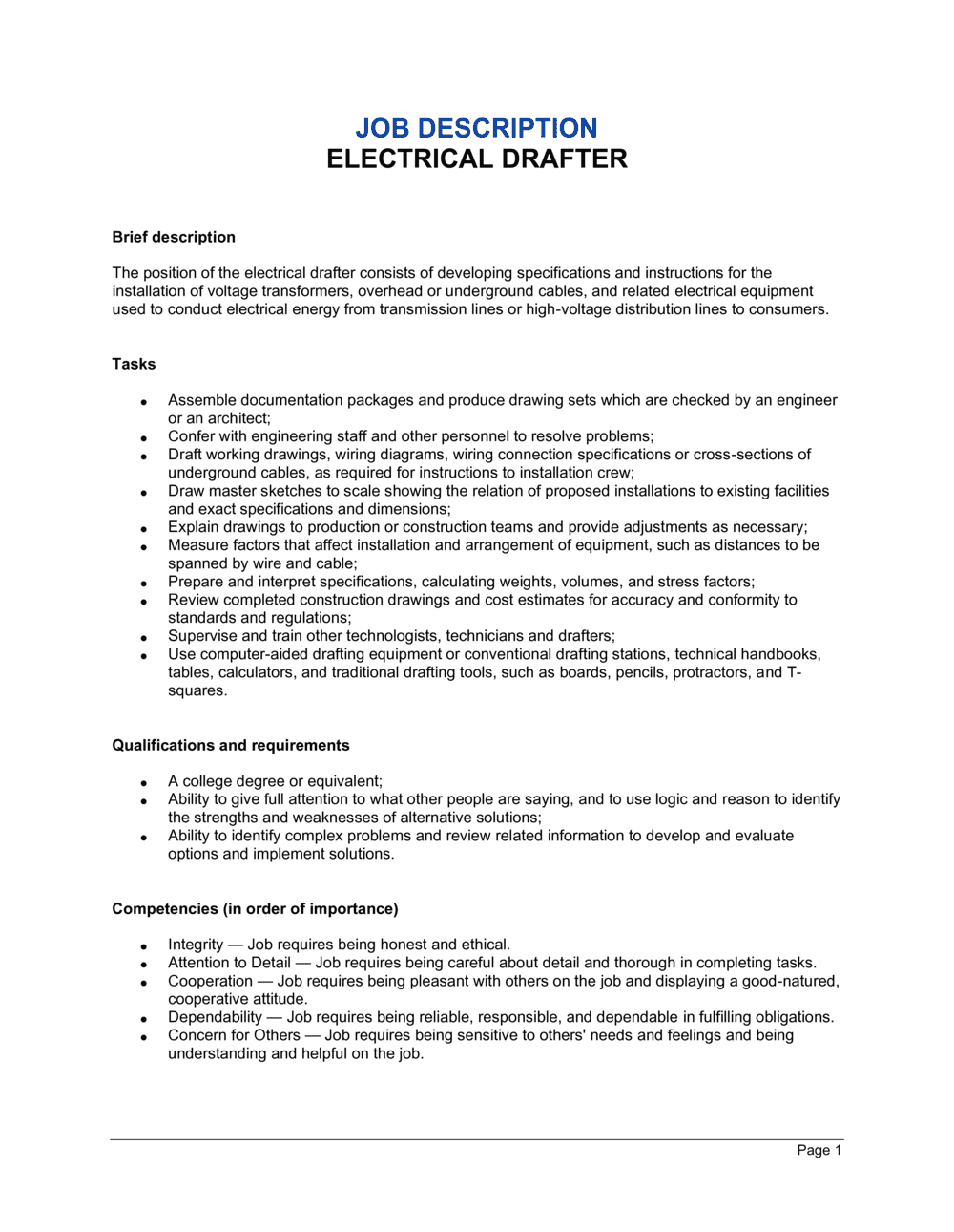 Business-in-a-Box's Electrical Drafter Job Description Template