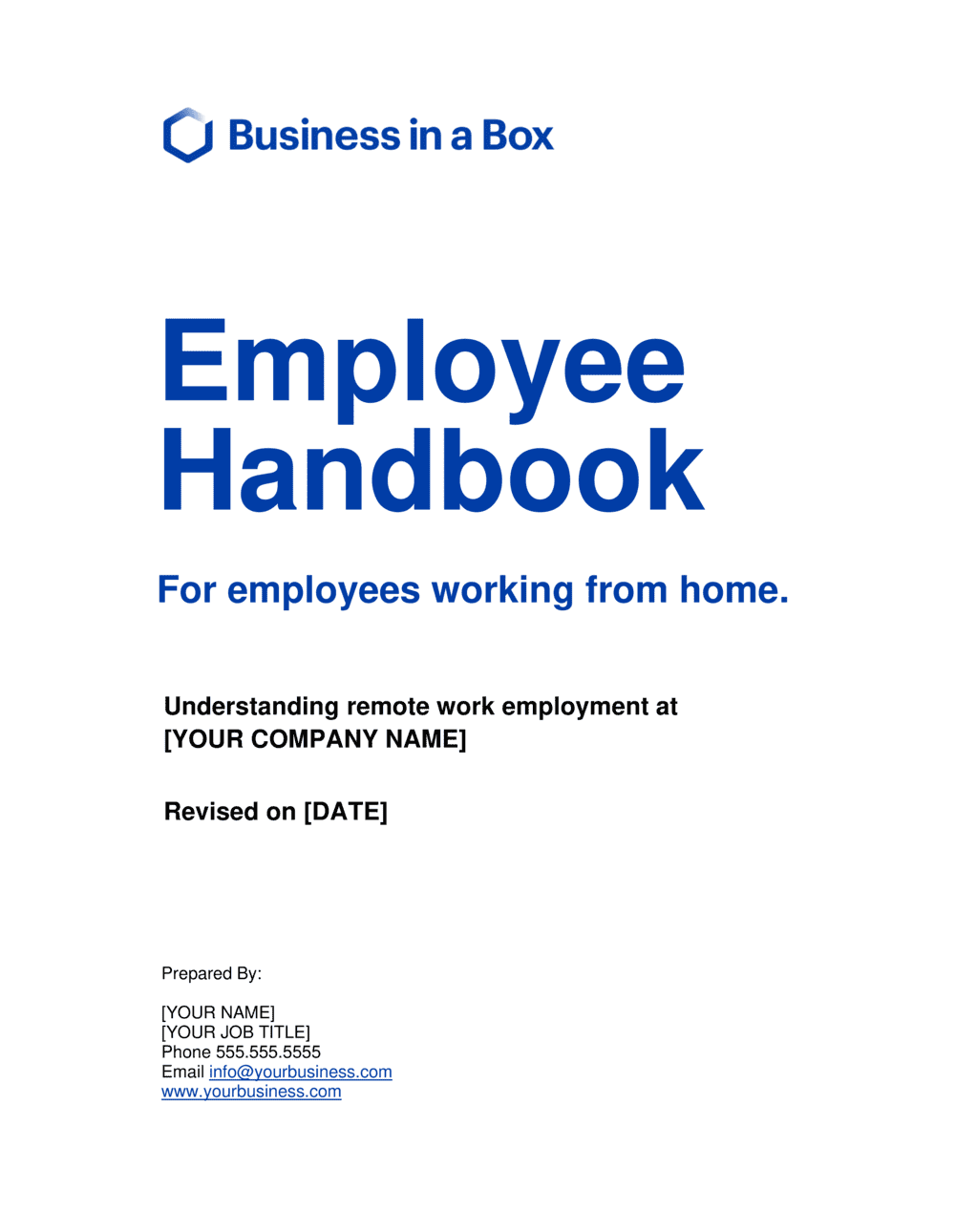 Business-in-a-Box's Employee Handbook For Employees Working From Home Template