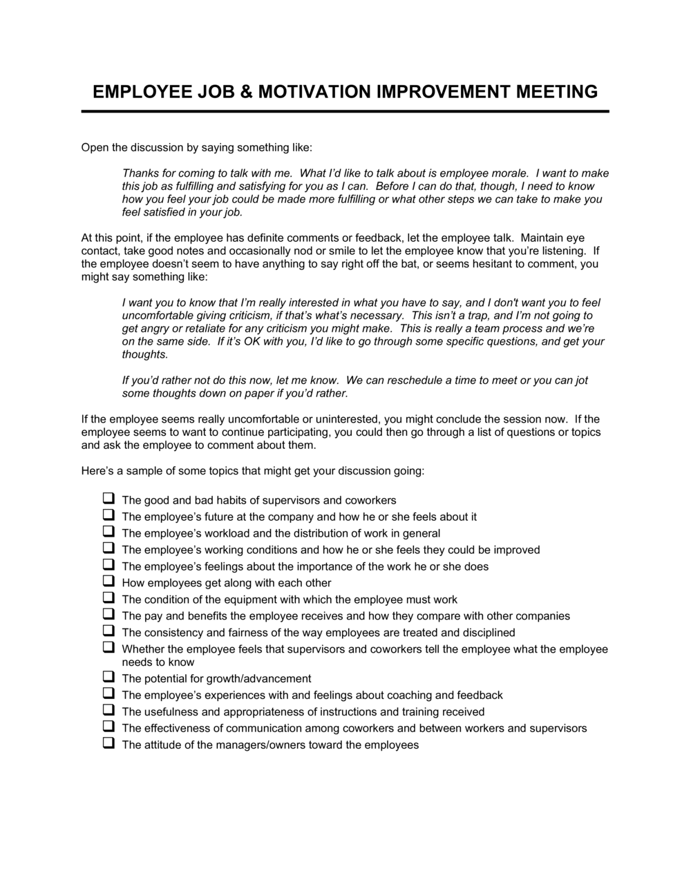 Business-in-a-Box's Employee Job and Motivation Improvement Meeting Template