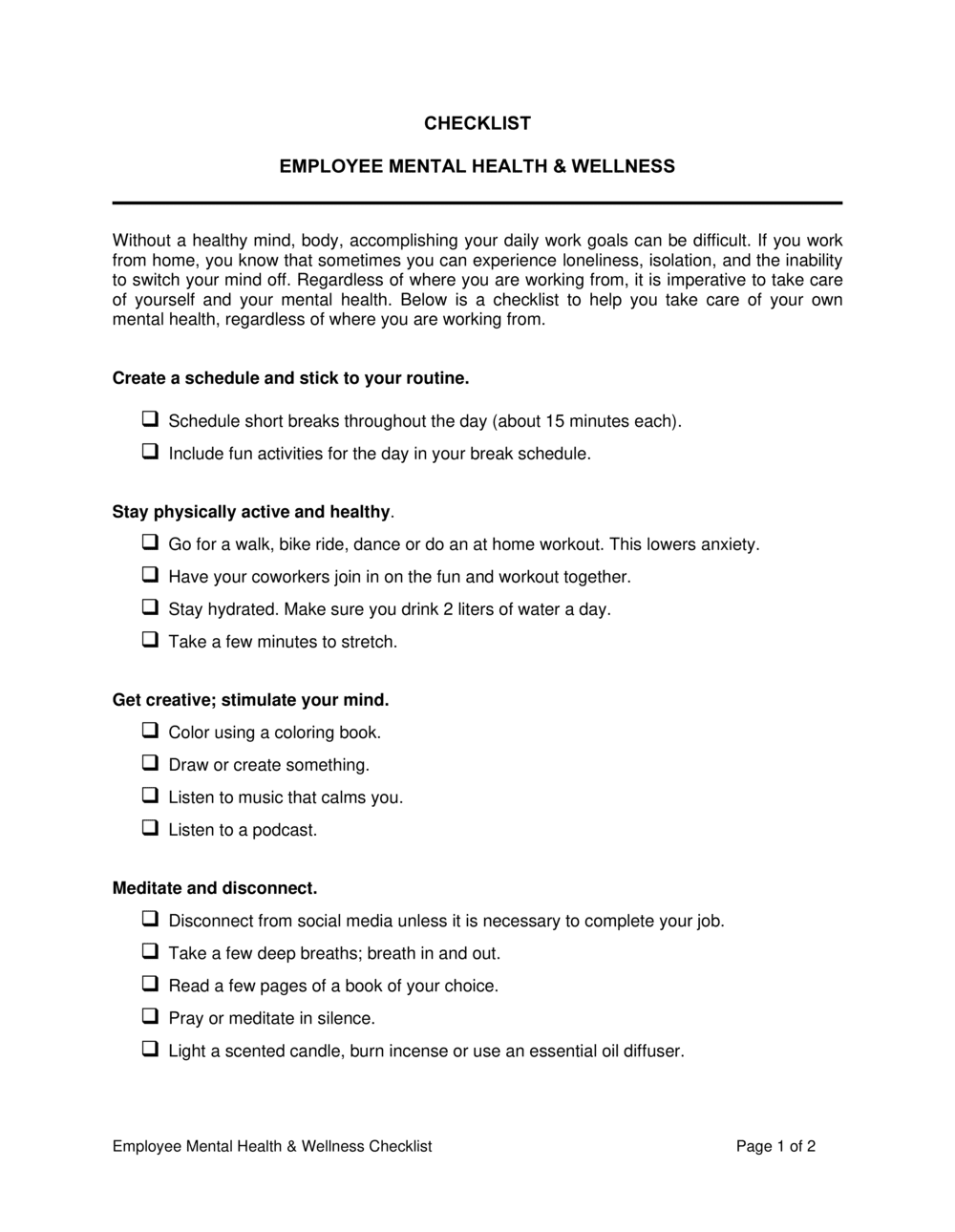 Business-in-a-Box's Employee Mental Health And Wellness Checklist Template