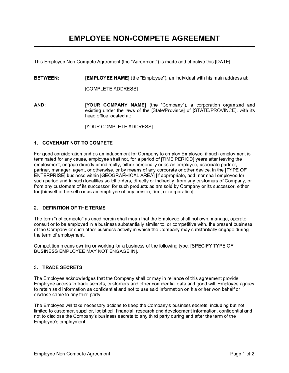 Business-in-a-Box's Employee Non-Compete Agreement Template