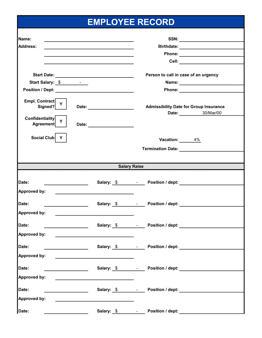 Business-in-a-Box's Employee Records Template