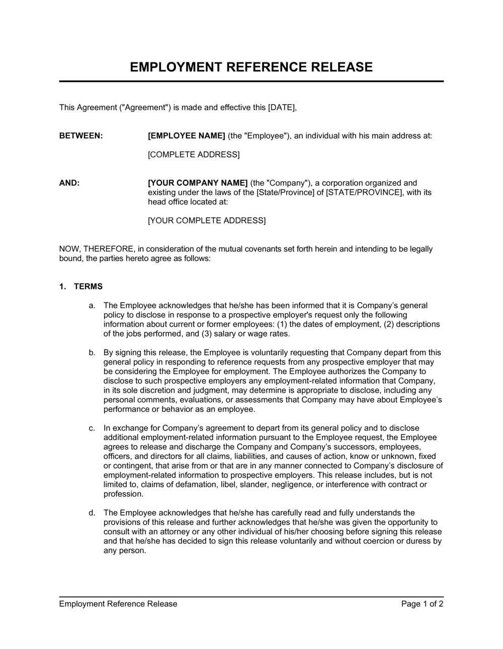 Business-in-a-Box's Employee Reference Release Agreement Template