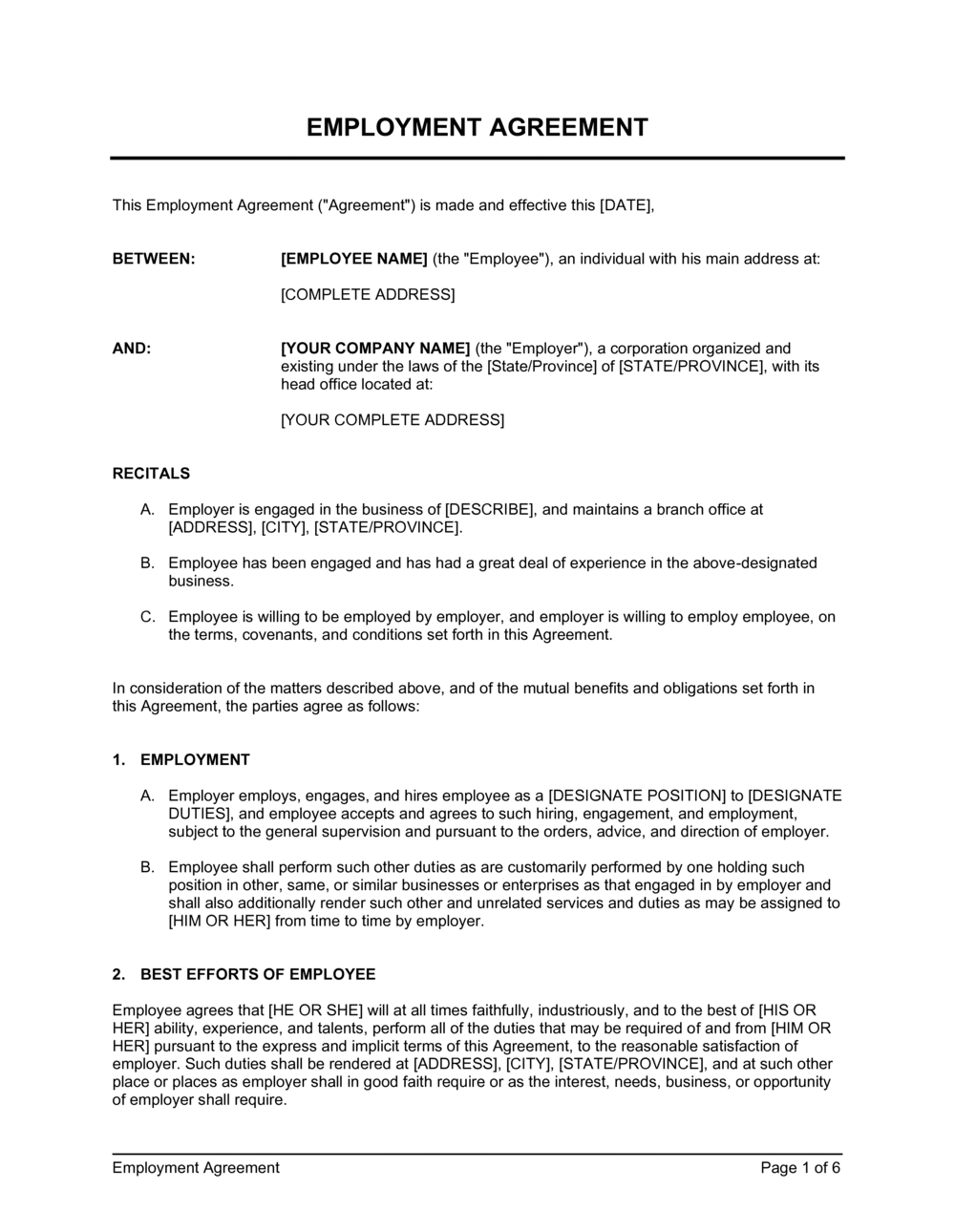 Business-in-a-Box's Employment Agreement Template