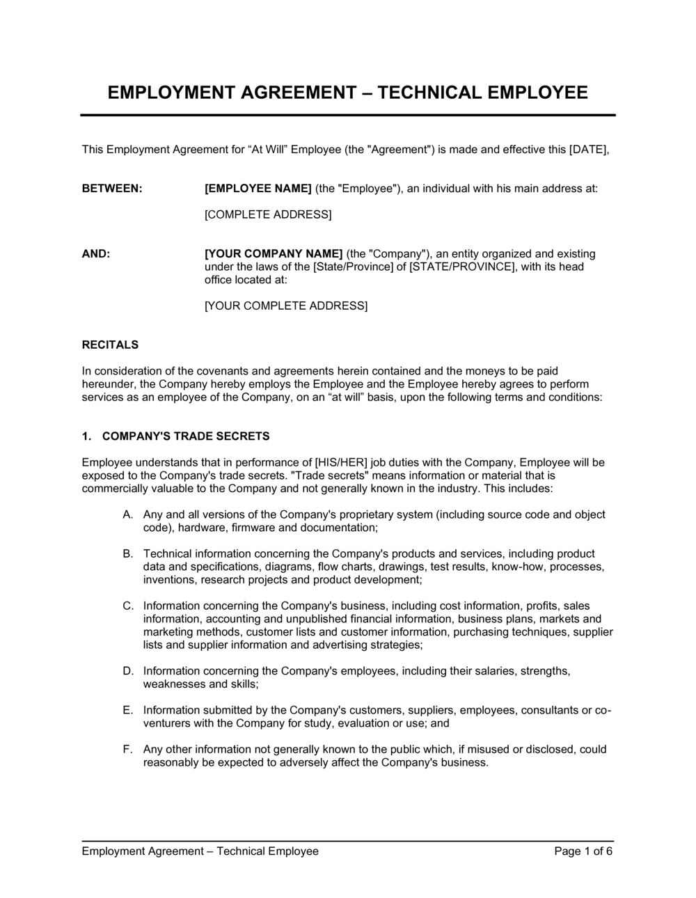 Business-in-a-Box's Employment Agreement For Technical Employee Template